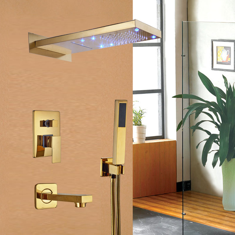 LED Rainfall and Waterfall Shower Head Shower Faucet Bathroom Tub Mixer Tap with Handshower Gold Finish free shipping polished chrome finish new wall mounted waterfall bathroom bathtub handheld shower tap mixer faucet yt 5333