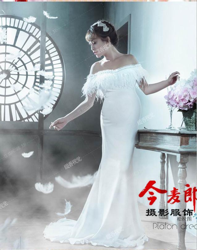 ФОТО New Maternity Photography Props clothing for pregnant women Mermaid Dress Pregnancy white Romantic set Princess Free shipping