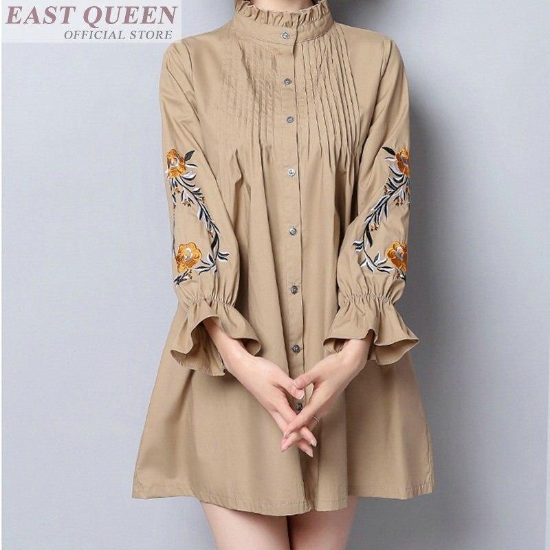 Женская блузка с вышивкой и цветочным принтом, повседневные блузки с длинным рукавом бабочкой, свободные офисные женские модные топы DD604 L