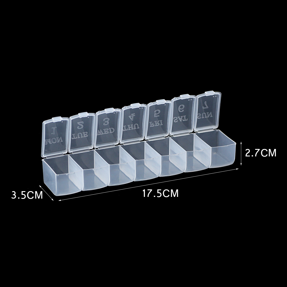 WLYeeS Rectangle 7 Slots Plastic Storage Jewelry Box Compartment Transparent Storage Case For Jewelry Beads Drug Container Boxes