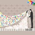 Almohadilla de Tinta de regalo! DIY Mariage Novia Largo Velo de novia Con el Novio de Huella Digital Pintura de la Lona Mano a Mano Firma Árbol Boda Libro de Visitas