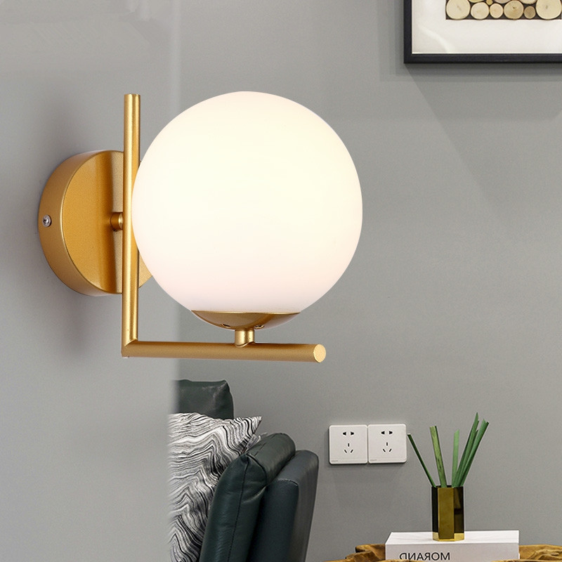 Modern Glass Wall Lamp Led Sconce For Living Room Bedroom Light Milk White Global Lampshade Ball Lighting