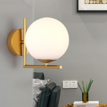 цена на Modern Nordic Glass Ball Wall Lamps Bedroom Gold Led Wall Sconce Mirror Light Fixture Industrial Lamp for Home Loft Decor E27