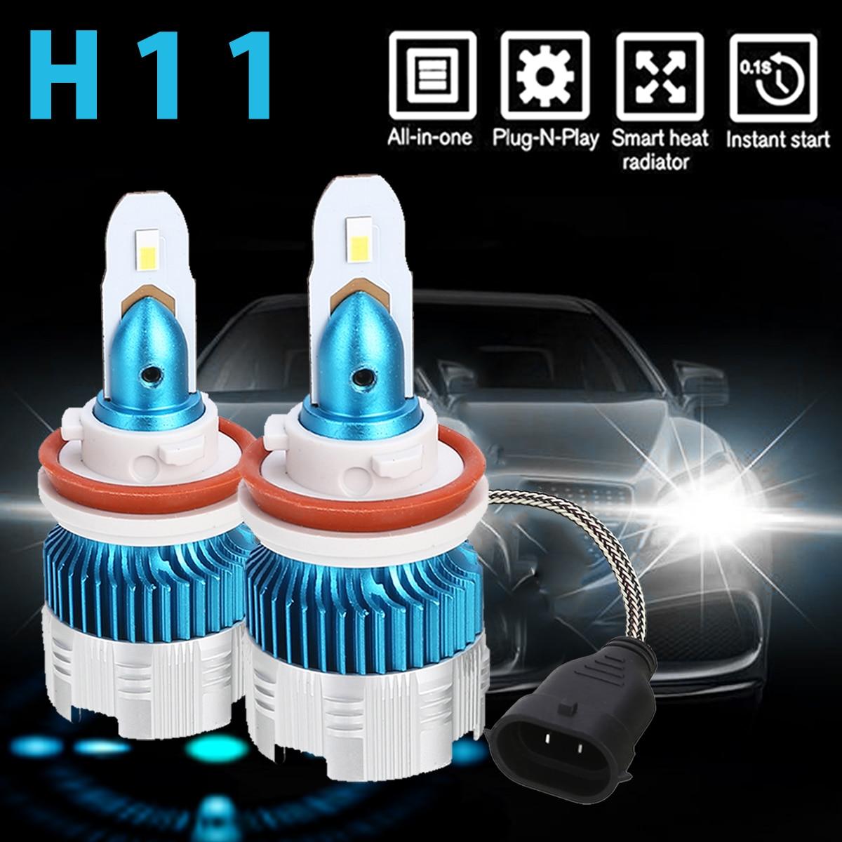 For Car Lighting 60W/Pair 6500K Waterproof LED Head Lamp Bulb High Brightness H11 Mini LED Headlights Mayitr