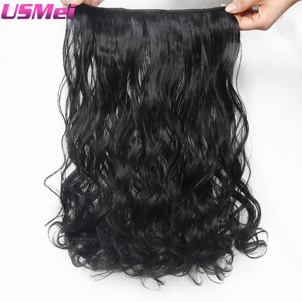 Online get cheap hair extensions wavy black aliexpress usmei clip in synthetic hair extensions long wavy hair one piece 5 clips black color women pmusecretfo Images
