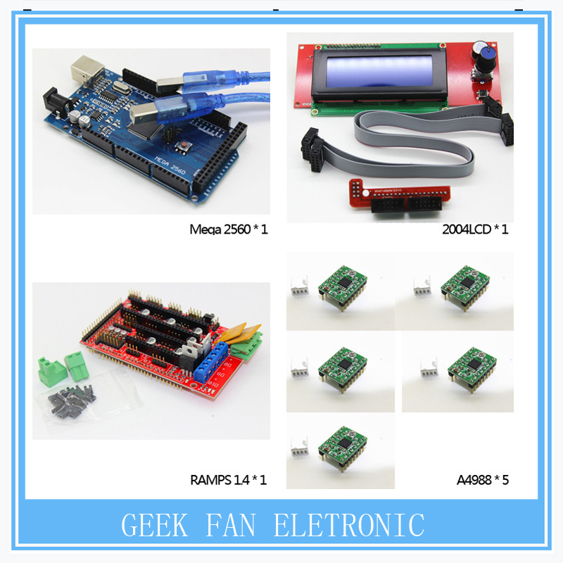 1pcs Mega 2560 R3 + 1pcs RAMPS 1.4 Controller + 5pcs A4988 Stepper Driver Module +1pcs 2004 controller for 3D Printer kit, цена и фото