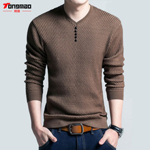 Фотография Solid Color Pullover Men V Neck Sweater Men Long Sleeve Shirt Mens Sweaters Wool Casual Dress Warm Cashmere Knitwear Pull Homme