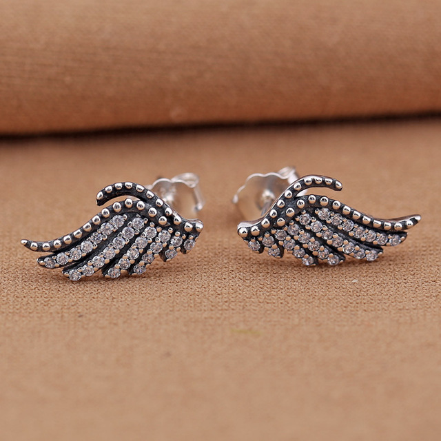 Feathers stud earrings Authentic 925 Sterling Silver Earring Majestic Feathers With Crystal Studs  Earrings For Women Wedding Party Gift