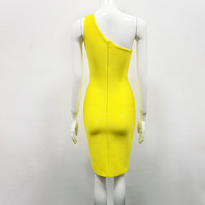 High Quality Sexy One Shoulder Yellow Key Hole Rayon Bandage Dress 2020 Celebrity Designer Fashion Party Dress Vestido 4