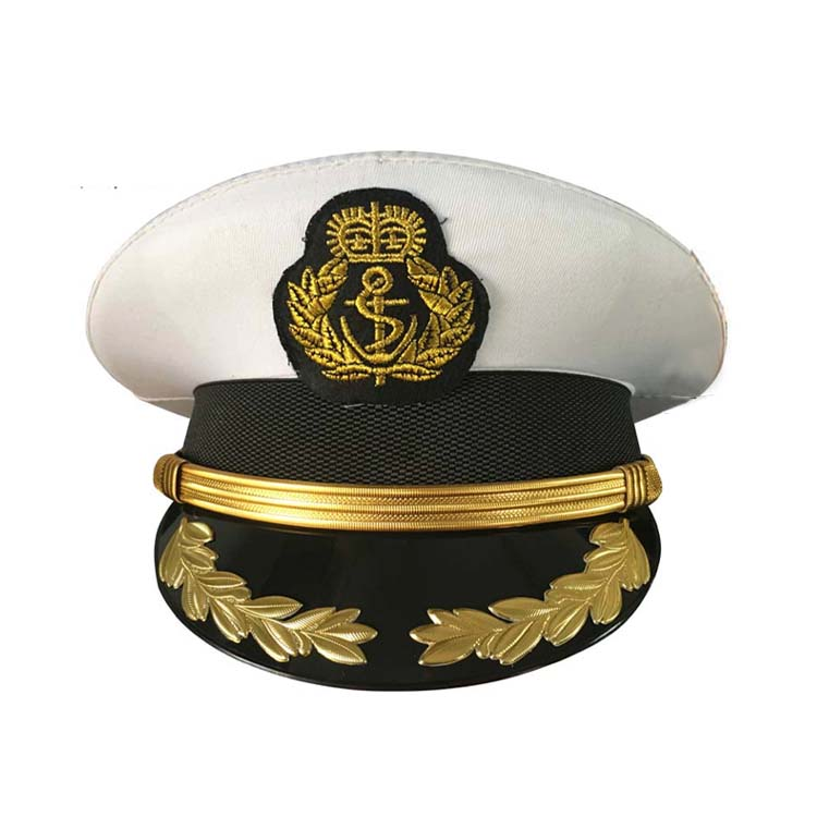 High Quality Military Costume Hats Navy Officer Caps Adult Men White Military Hats Army