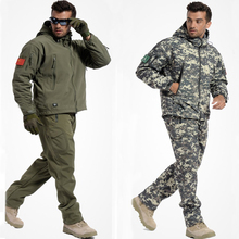 Hot Sale Men Army Tactical Military Outdoor Sports Suit Hunting Camping Climbing Waterproof Windproof TAD Sharkskin Jacket+Pants hot sale men military alipe mountain meadow terrain camouflage tactical pants trouser army men hunting pants ht136
