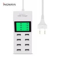 INGMAYA-cargador USB de 8 puertos para iPhone 5, 5S, 6, 6S, 7 Plus, iPad, Samsung, Nexus, Huawei, Mi, ZTE, LG, adaptador de CA, 5V8A, pantalla LCD