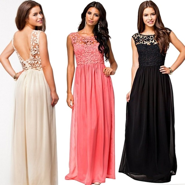 Women\'s Lace Chiffon Wedding Summer Holiday Evening Gown Maxi Dress ...