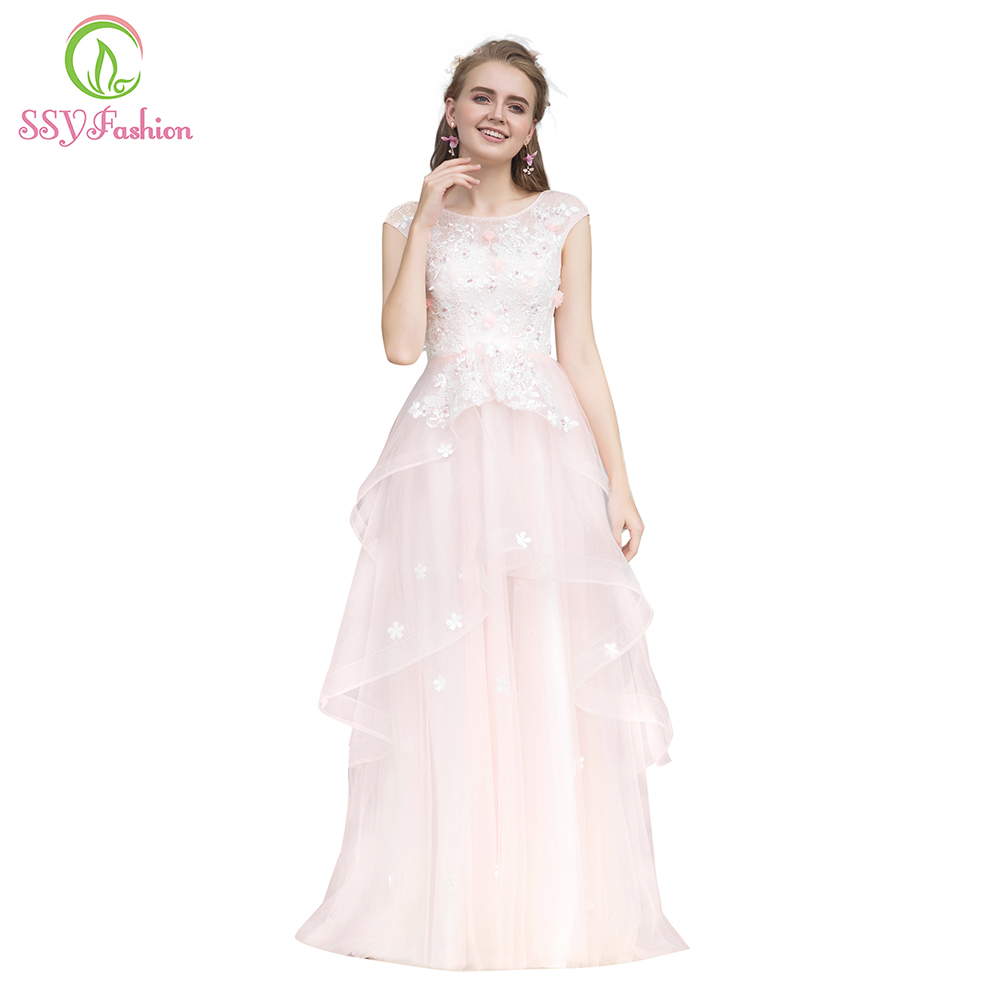 Clearance Sweet Pink Lace Evening Dress Banquet Elegant Appliques Floor-length Long Formal Dresses Party Gown