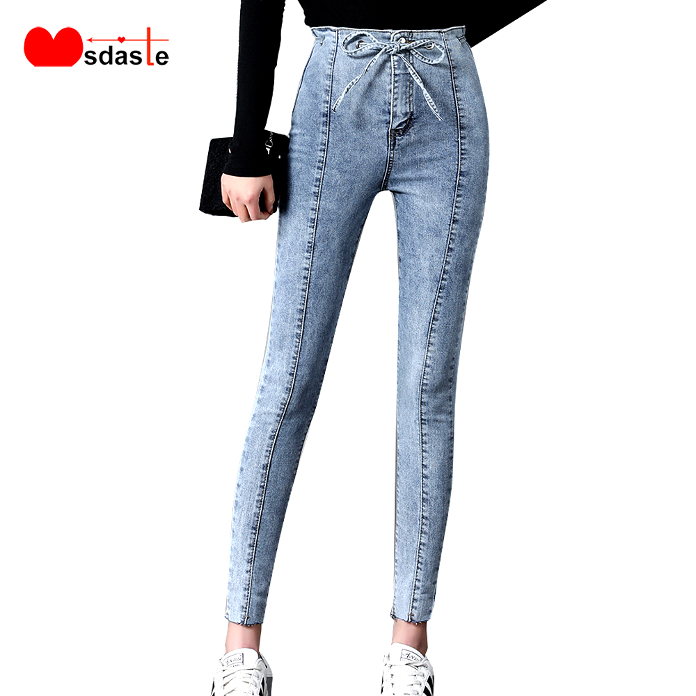 Jeans   Woman Pants 2019 New Bow Ties High Waist Ankle-length   Jean   Femme Stretchy Skinny Pencil Trousers Vintage Slim Denim Pants