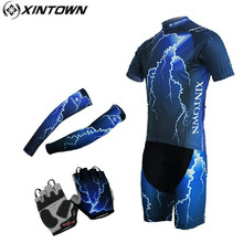 XINTOWN Bicycle Short Cycling Jersey Sleeves Helmet Gloves Set 3D Padded Bicicleta Capacete Ciclismo Bike Men Clothing Kit