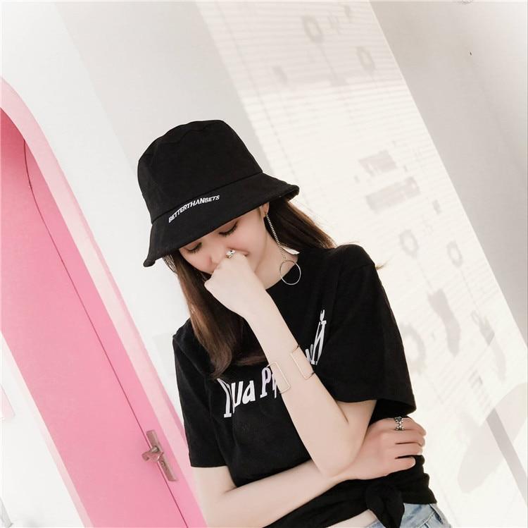 105f7e91 Men Women Cotton Street Hip Hop Bucket Hat 2018 Fashion Letter ...