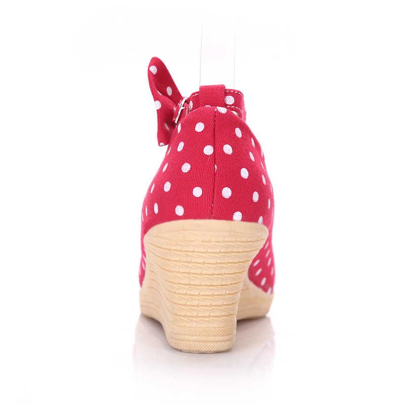 Primavera Nuove Donne di Modo Pompe Casual della piattaforma Arco Scarpe Da Donna Comode Zeppe Dolce ragazze Pompe formato 34-39 zapatos mujer
