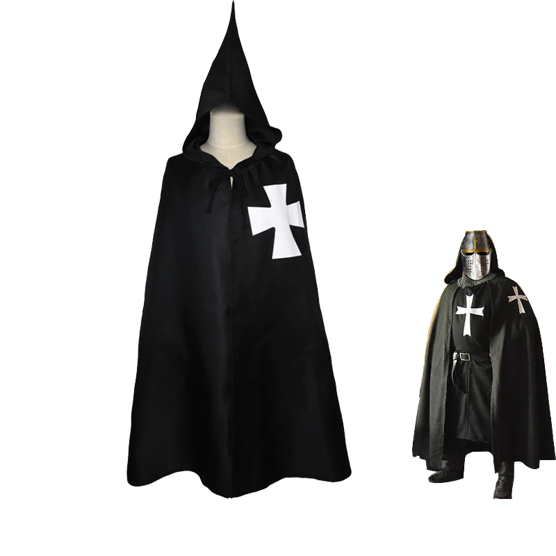 Halloween Medieval Warrior Cosplay Cloak Roman Empire Templar Cape Robe Middle Ages Knights Warrior Hospitaller Maltese Capes