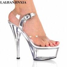 Laijianjinxia/Парадное, тонкое Каблучки прозрачный с пикантные Модные женские босоножки 15 см супер высокой шпильке комплект для Женская обувь