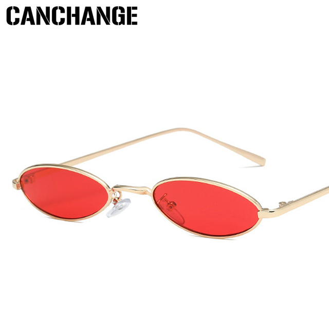 3fd6870361 CANCHANGE Small Oval Sunglasses Women Vintage Ladies Sunglasses Men Retro  Metal Frame Yellow Red Tint Clear