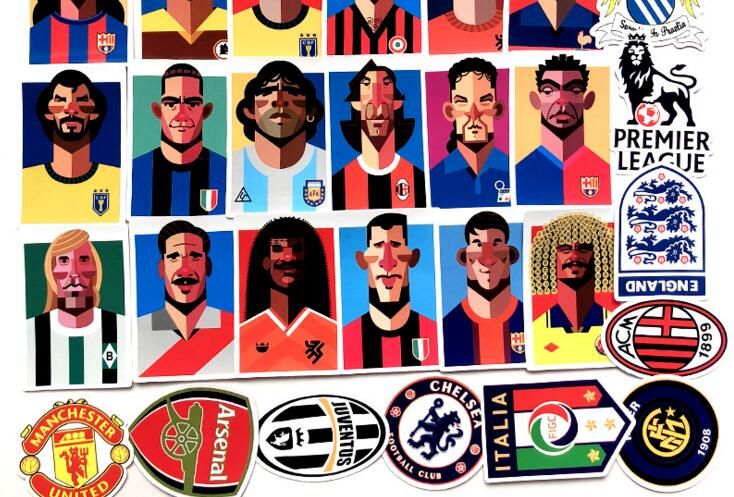 35Pcs/Set World Football Star Sticker Waterproof Personality Design For For Suitcase Notebook Guitar And Skateboard Doodle