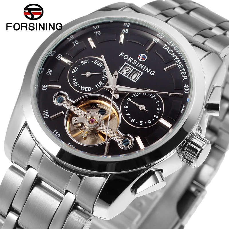 Forsining Men's Automatic Self-winding Fashion Calendar Luxury Brand Tourbillon Watches with Stainless Steel Band FSG9404M4S1