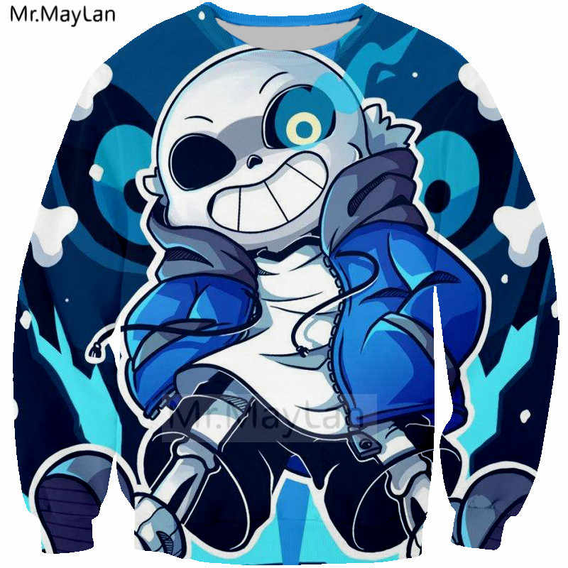 Cool 3D Print Game Undertale Sans Blue Eyes Sweatshirt Men Rock Streetwear  Hoodies Boys Hipster Blue Coat Clothes Fashion Tops