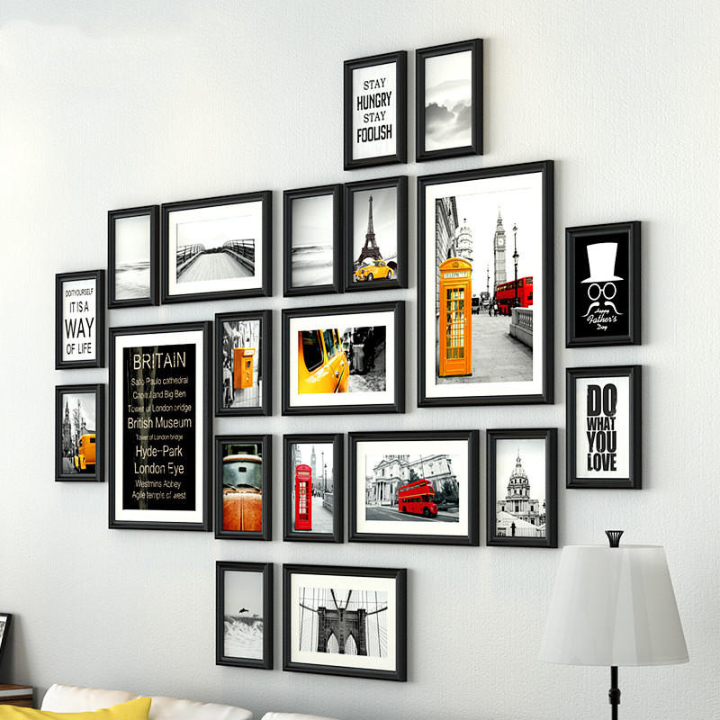 Europe Style Solid Wood Photo Frame Wall 20PCS set Home Sofa Decor Photo Frames Vintage Combination