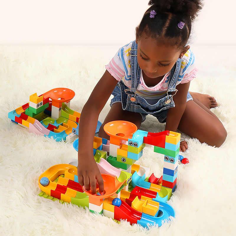 Tumama 104 PCS Mármore Corrida Corrida Bolas Labirinto Pista de Slides Blocos de Construção Compatível legoinglys Duploe Animais DIY Brinquedos Para Crianças
