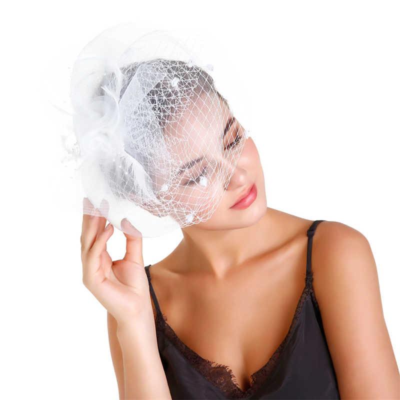 241c00eb Women Fascinator Hats Vintage Kentucky Derby Hat Bridal Dot Veil Feather  Wedding Hair Clip Cocktail Tea