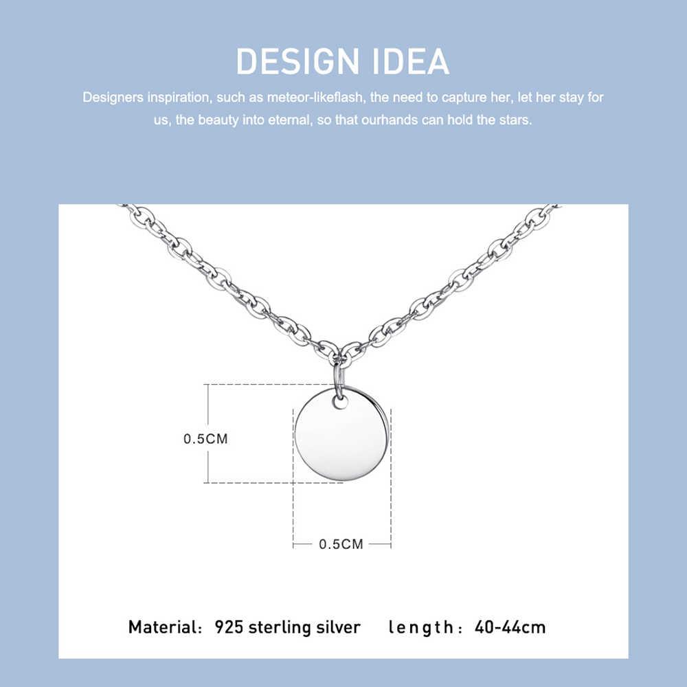 ELESHE 2019 nowa luksusowa moda okrągłe monety Choker naszyjnik dla kobiet 925 srebro naszyjnik łańcuch Collier Femme