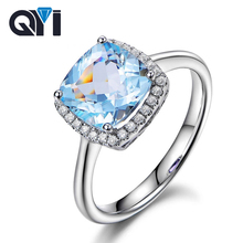 QYI Fashion Halo Engagement Ring 3 Ct Cushion Cut Gemstone Party Jewelry Women 925 Sterling Silver Natural Sky Blue Topaz Rings