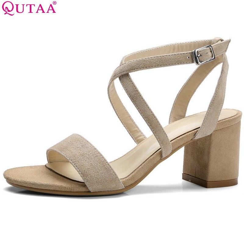 QUTAA 2017 Women Sandals Square High Heel Summer Platform Women Shoe Kid Suede Black Apricot Ladies Wedding Shoes Size 34-39