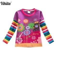 hot deal buy retail children t shirts kids flower t-shirt girls roupa infantil girls long sleeve t shirt child clothing nova kids shirts l328