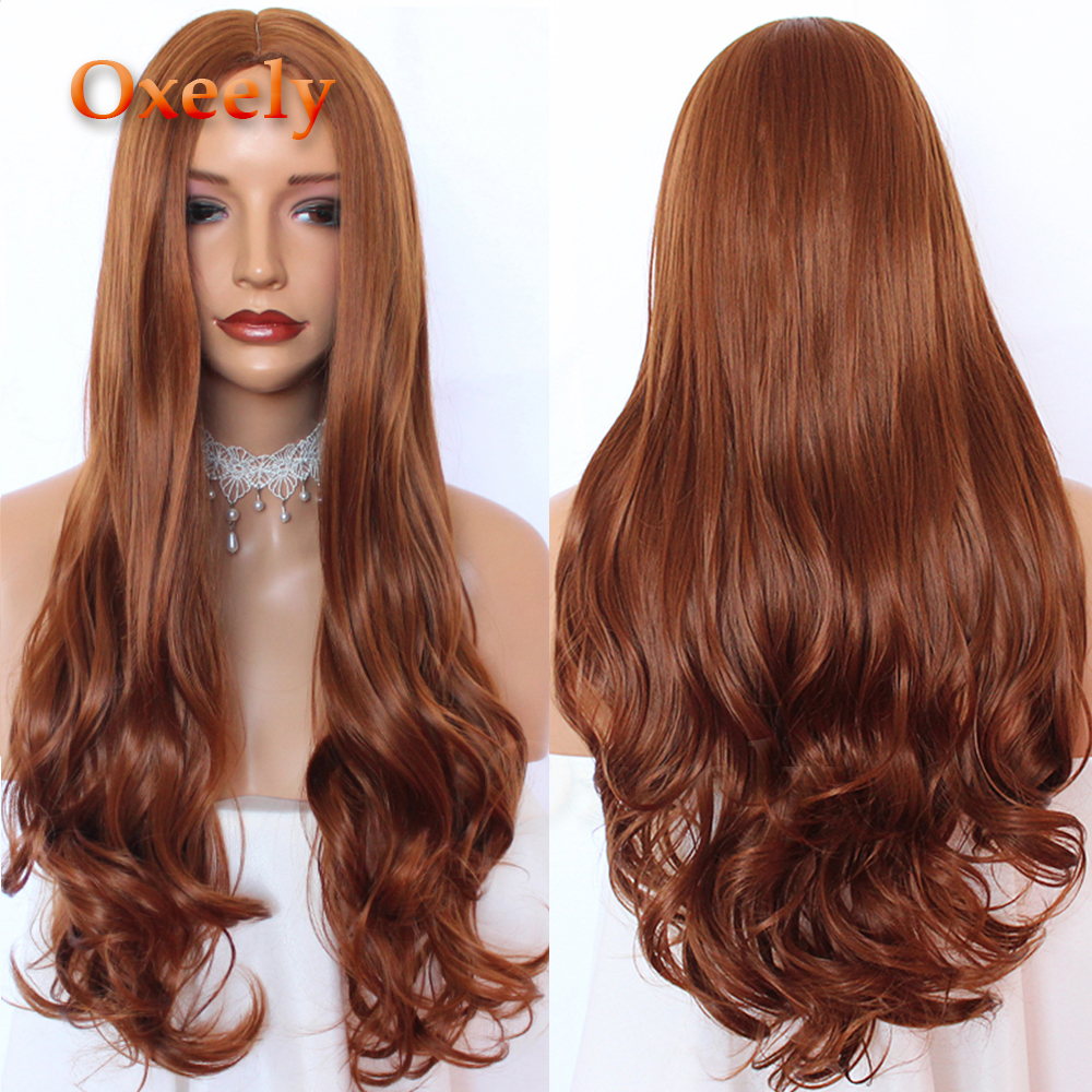 Oxeely Orange Long Wavy Hair Synthetic Hair Full Wigs