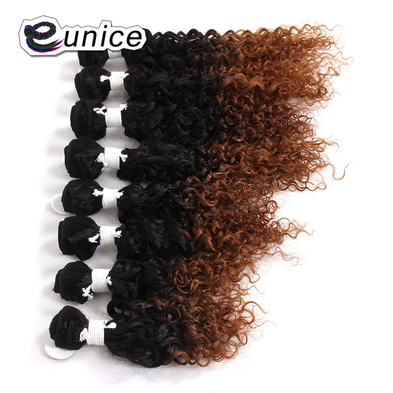 Women's Blond Weft Bundles Short length Kinky Curly Hair Weaving 8pieces/lot Full Head Synthetic Weave Extensions From Eunice