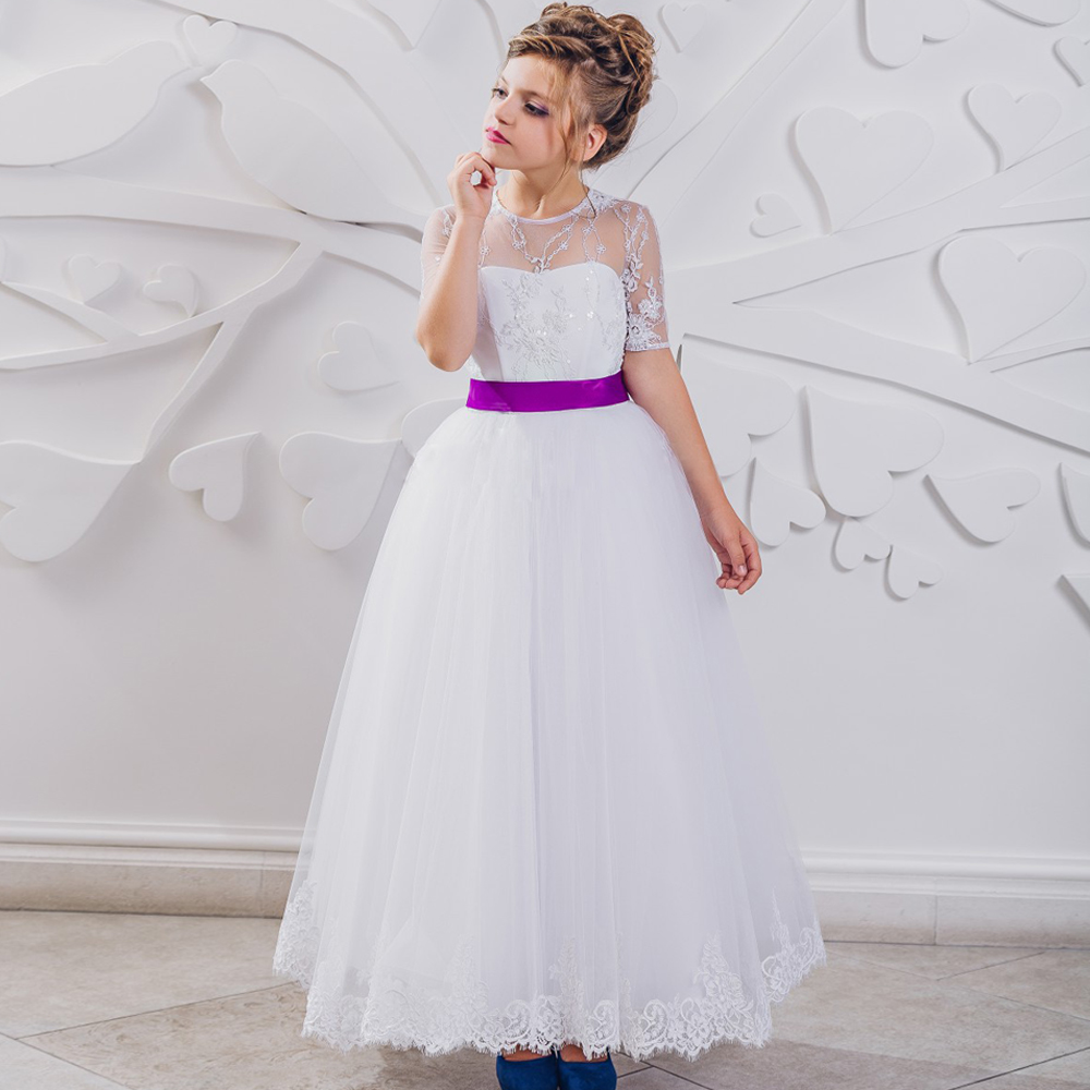 Charming Flower Girl Dress with Ribbon Bow For Birthday Wedding Party Ball Gown Tulle 0-12 Years Old  For Christmas [sa] new japan genuine original smc solenoid valve vk332y 5g 01 f spot 2pcs lot