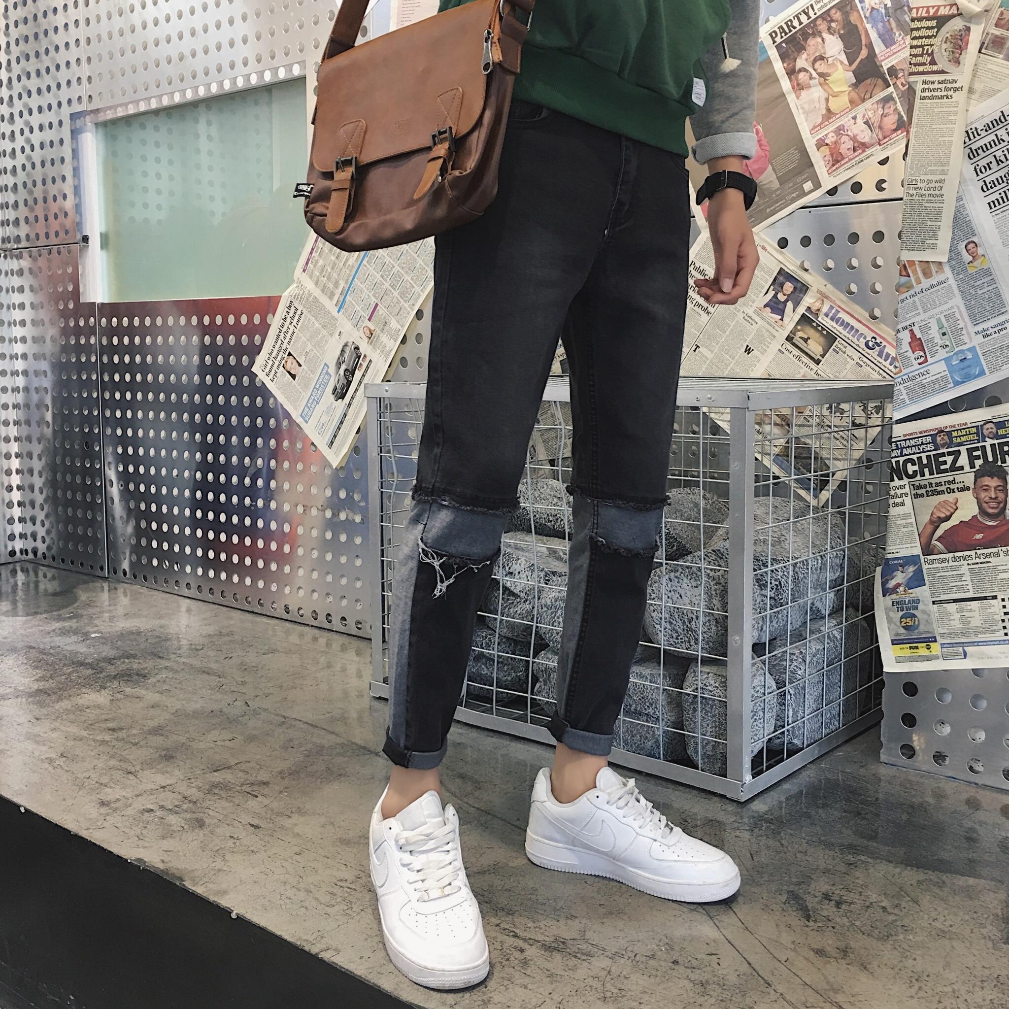 Trendy Black Day Pants Winter Korean Men's Pants Fashion Casual Teen Skinny Small Feet Jeans 2019 Mens Jeans Brand