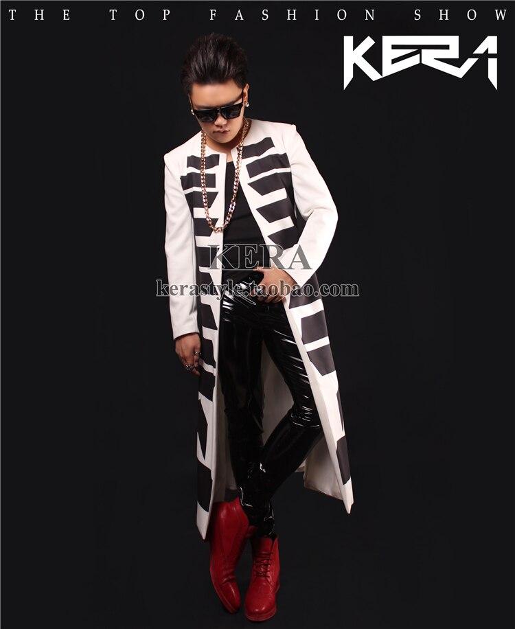Vêtements Slim Long Leather Motif 2019 Chanteur Totem Et Manteau black Costumes Mâle Veste Dj New As Noir Picture Blanc Pants Tranchée Chaude Hommes qwa1Xtq