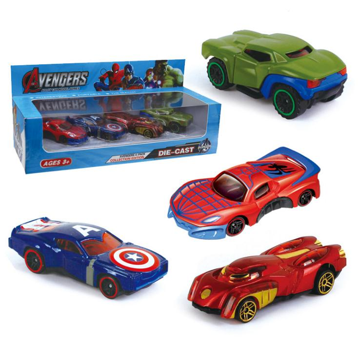 4pcs/set Avengers Alloy Diecast Car Models Iron Man Hulk Spiderman Captain America Pull Back Collection Toy Cars For Kids Gift