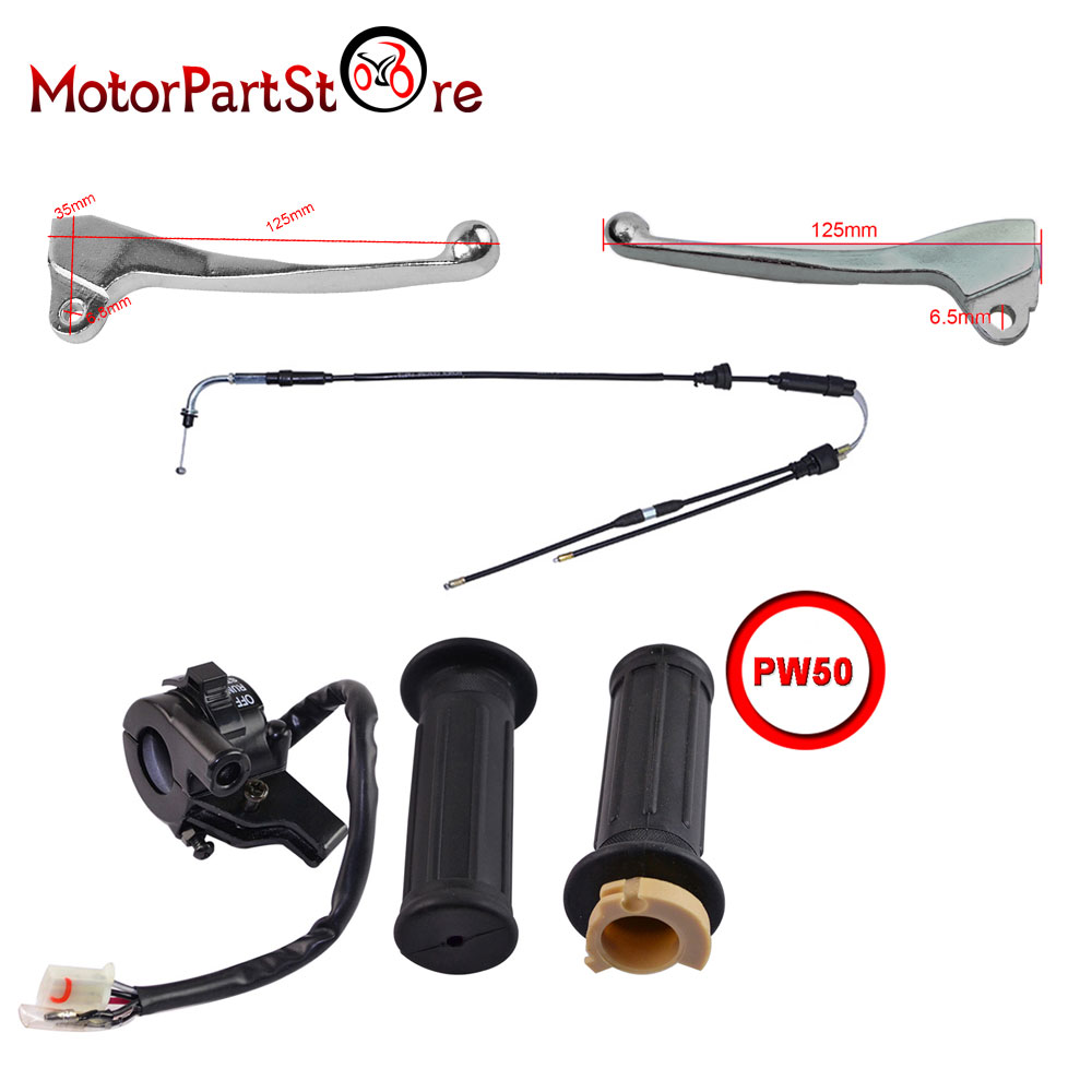 Left & Right Hand Brake Lever Grips Throttle Cable Switch For YAMAHA PW50 PY50
