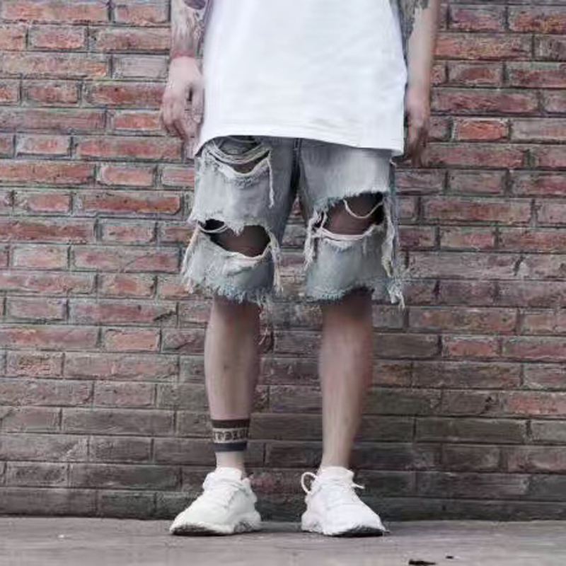 High Quality Streetwear Distressed Jeans Shorts Men Heavy Shorts Skateboards black Hole Broken shorts sweatpants hiphop shorts ...