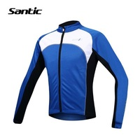 Santic Thermal Tour De France Cycling Jerseys Fleece Jerseys Windproof Ropa Ciclismo Coat MTB Reflective Cycling