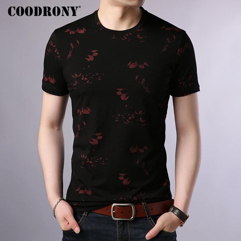 COODRONY T Shirt Men Cotton Men's Shirt 2019 Summer O-Neck T-shirt Men Streetwear Short Sleeve Tee Shirt Homme Floral Top S95014