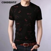 COODRONY T Shirt Men Cotton Mens 2019 Summer O-Neck T-shirt Streetwear Short Sleeve Tee Homme Floral Top S95014