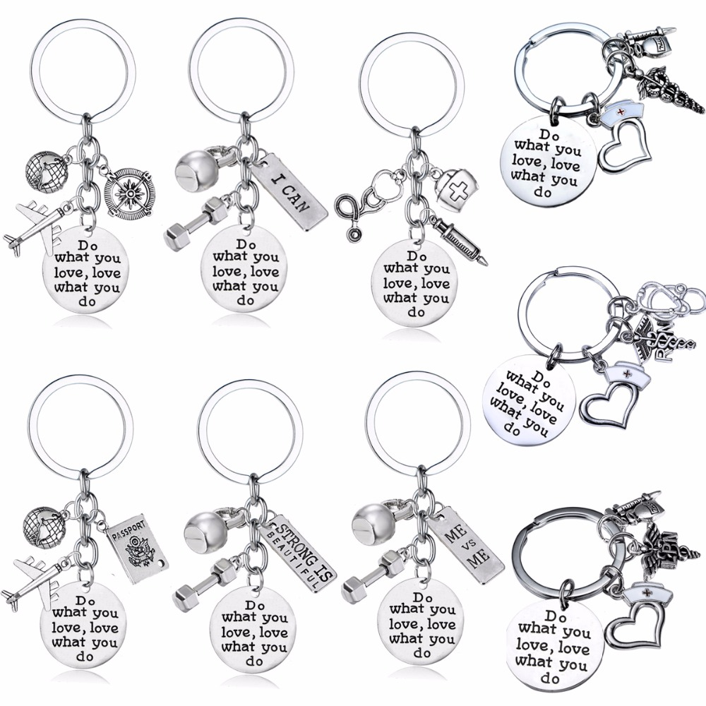 Do What You Love Love What You Do Keyring Traveler Nurse Doctor Sports Fitness Weightlifting Keychain Gifts Women Men Key Chain(China)