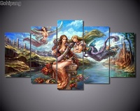 5Piece Wall Painting Home Decor Anime Poster Angel Girl Canvas Art Picture And Printed Wall Art