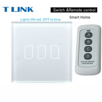 TLINK EU Standard Crystal Glass Panel Touch Switch Wall Light Touch Screen 1 2 3 Gang