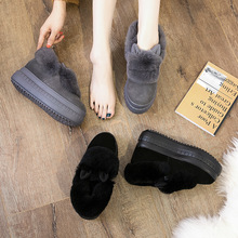 hot deal buy snow boots winter new thick-soled leather rabbit fur muffin women's shoes genuine leather  snow boots women  woman shoes